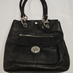 Coach Black Leather Tote Shoulder Bag Purse